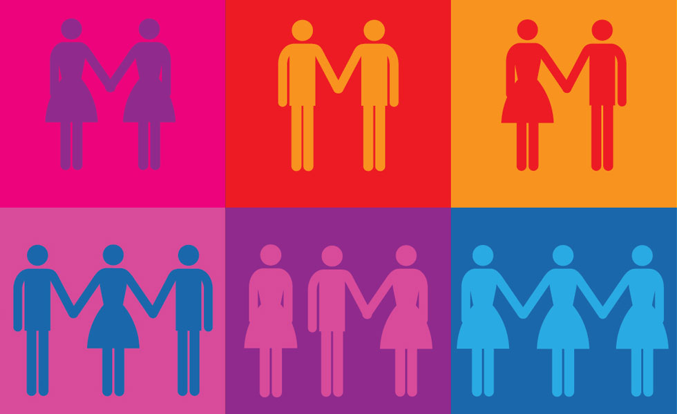 Pic: rainbow coloured stick people of different genders holding hands