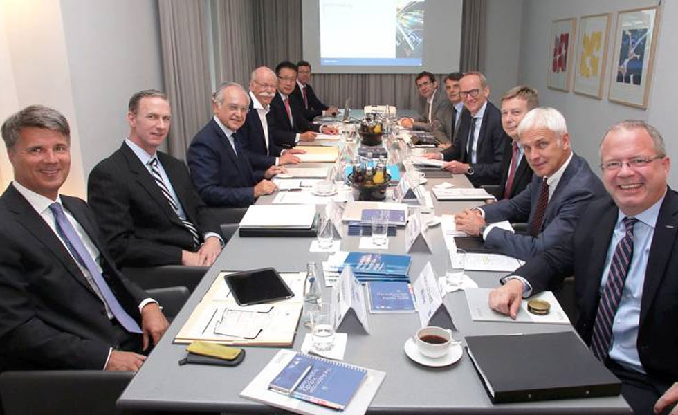 Photo: a boardroom of twelve middle aged, white men in suits