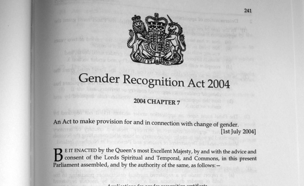 Photo: a page from the Gender Recognition Act 2004