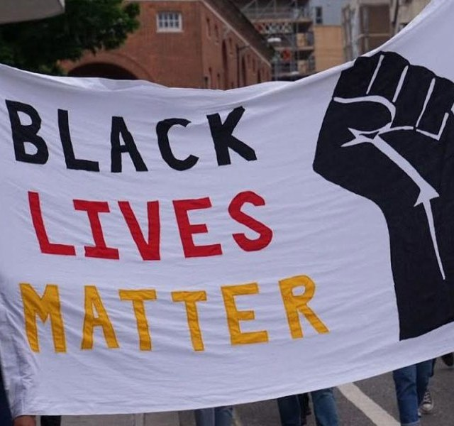 Photo: A black lives matter protest banner