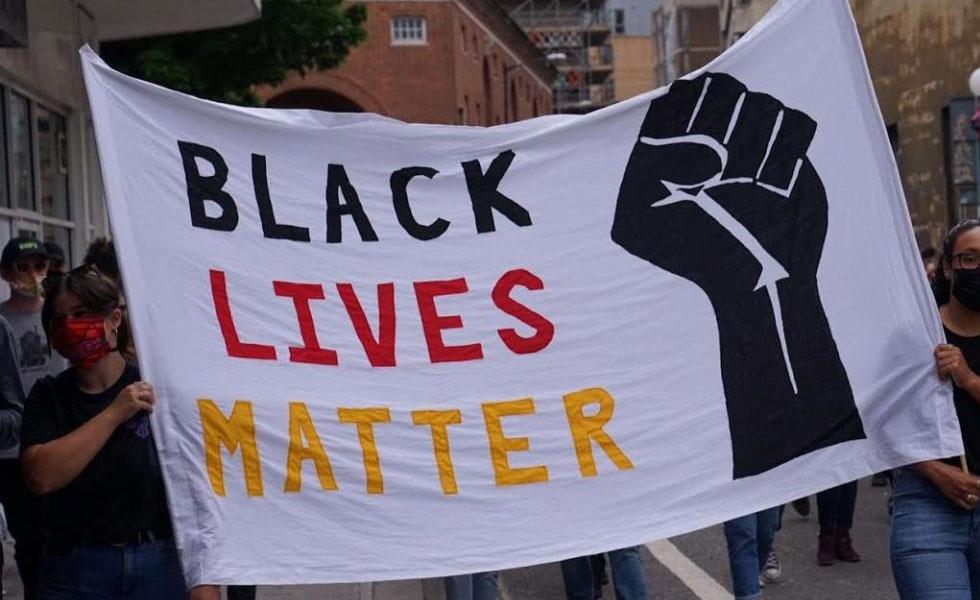 Photo: A black lives matter protest banner