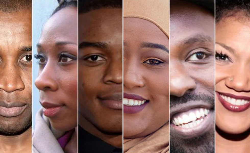 Photo: the faces of six different black people