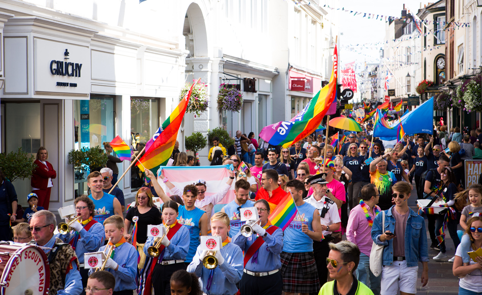 Photo: the Pride parade in King Street, St Helier